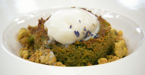 Yan's pistacchio clafoutis with crumble and a buttermilk and lavender sorbet on Masterchef ...