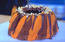 Liam's Peanut butter and chocolate swirl cake on Junior Bake Off 2019