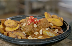 Zoe's Ghanaian groundnut with lamb yam and plantain on  Nadia's Family Feasts