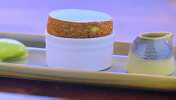 Michael Caines pistachio souffle with pistachio ice cream on My Greatest Dishes