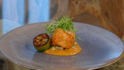 Richard Bainbridge's pollock with satay sauce and pickled cucumber on Saturday Kitchen