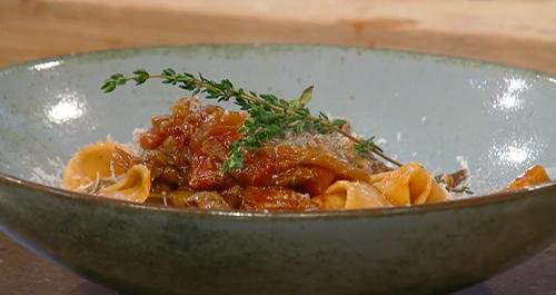 Gennaro Contaldo slow cooked ragu of wild mushrooms with pappardelle pasta on Saturday Kitchen