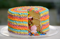Three tier rainbow cake on Beautiful Baking with Juliet Sear