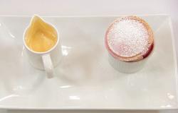 Avraj's raspberry souffle dessert on Masterchef The Professionals
