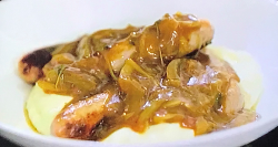 Jack Stein's sausages and mash with onion gravy on Jack Stein: Inside the box