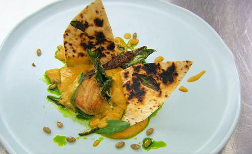 Malin's seared scallops with coconut sambal, Sri Lankan  butternut squash curry, sea veget ...