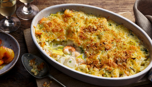 Rick Stein's seafood gratin with caramelised apples on Saturday Kitchen