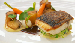 Freddie's sea bass with cabbage and red wine sauce on Masterchef The Professionals 2019