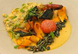 Steve's onion, butternut squash and chiili panna cotta with a parsley and barley risotto w ...