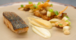 Ben's stone bass with a cider and celeriac jus on Masterchef The Professionals 2019