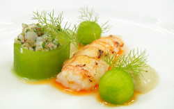 Andrew's torched langoustine tail with ceviche and fennel puree on MasterChef The Professi ...