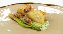 Monty's turbot with mussels, charred leeks and a champagne sauce with leek oil on Masterch ...