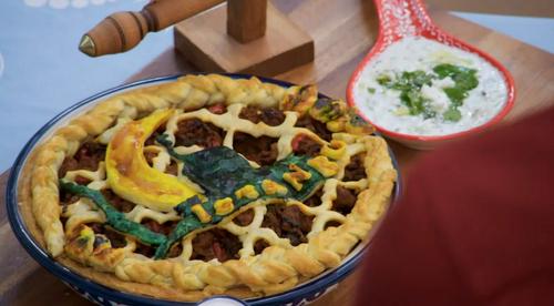 Amal's Turkish inspired pie on Junior Bake off