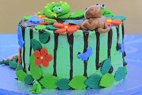 Zak's rain forest Victoria sponge on Junior Bake Off 2019