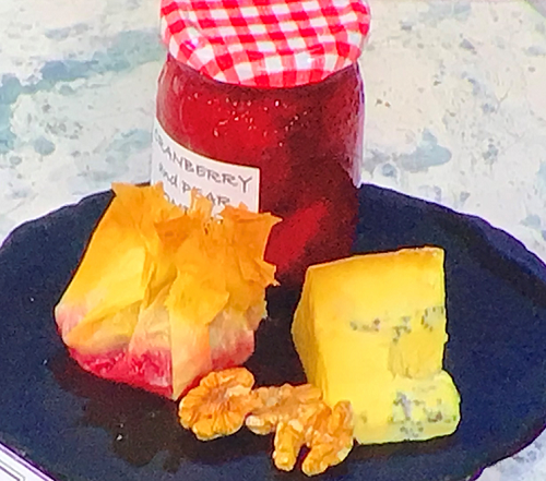Pan Corbin's cranberry, pear and apple compote with Stilton and walnuts on Sunday Brunch