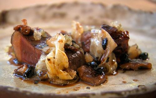 Olivia's BBQ beef with wild garlic, shitake mushrooms, cabbage and black bean sauce on MasterChe ...