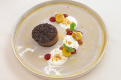 Michelle Trusselle's chocolate delice with a chocolate and rum sponge and caramelised plan ...
