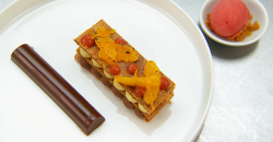 Exose's  mille feuille with cardamom and chocolate ganache with a blood orange sorbet on Masterc ...