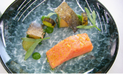 Exose's confit salmon with cucumber and a buttermilk and dill sauce starter on Masterchef The Pr ...