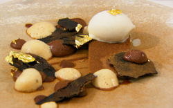 Stu's milk chocolate cookie with salted milk ice cream winning dessert on MasterChef The P ...