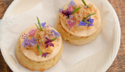 Olivia's crumpets topped with crab meat, crispy chicken skin and elderflower on MasterChef ...