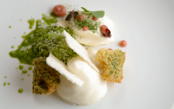 Olivia's fig leaf mousse with almond foam and gooseberry compote dessert on MasterChef The ...