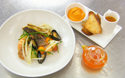 Exose's Bouillabaisse French soup with stone bass, scallops, mussels, sourdough croutons and a   ...