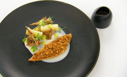 Stu's guinea fowl with hazelnut crumb with a spiced guinea fowl sauce on MasterChef The Pr ...