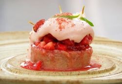 Olivia's jasmine cake with strawberries on Masterchef The Professionals 2019