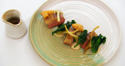Exose's cannon of lamb with artichokes, kale, olives and a lamb sauce on MasterChef The Professi ...