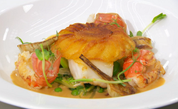 Freddie's pan fried turbot with peas, artichokes, langustines and a potato galette on Mast ...