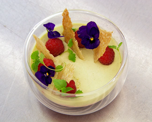 Andrew's lemon balm posset on a lavender and raspberry compote  on Masterchef The Professi ...