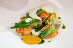 Adam Handling's BBQ lobster in wagu beef fat with carrots, pak choi, jerk seasoning and  l ...