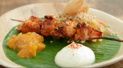 Malin's Sri Lankan lobster, tempura claw, yoghurt and a Asian mango chutney on Masterchef  ...