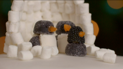 Kirstie Allsopp's Penguin family made with sweets and marshmallows on Kirstie's Hand ...