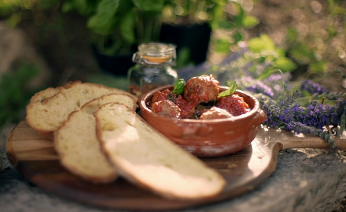 Gino's Italian meatballs with caramelised onion chutney, tomato sauce and crusty bread on  ...