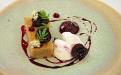 Olivia's meadow sweet sponge cake with glazed cherries and a buttermilk and yoghurt snow d ...