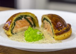 James Martin Salmon Pithivier with peas and a Mustard Cream Sauce on James martin's Saturd ...