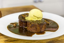 James Martin Sticky Toffee Pudding Roulade with Dates and Ice Cream on James Martin's Satu ...
