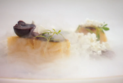 Adam Handling's millet cake with miso, cherries and meadowsweet snow on masterChef The Pro ...