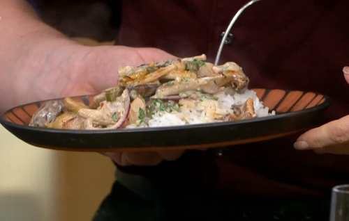 Jamie Oliver festive  mushroom stroganoff with brandy and fluffy rice on This Morning