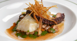 Exose's poached seaweed butter turbot with octopus, potatoes and a sauce vierge on MasterC ...