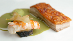 Stu's pork belly with black pudding, langoustine, fennel and a Thai green bisque on Master ...