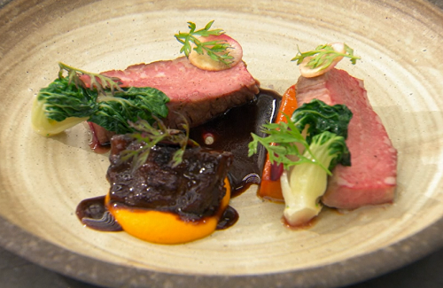 Stu's pork with carrots and char siu sauce on Masterchef The Professional 2019