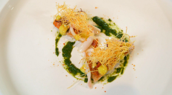 Stu's red mullet with squid, coriander, straw potatoes and a garlic and lime sauce on Mast ...