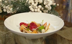 Ruth Hansom roasted cauliflower mousse with apple compote and pickles on Saturday Kitchen