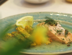Nadia Sawalha's salmon in prosecco with polenta and parmesan courgette fritters on John an ...
