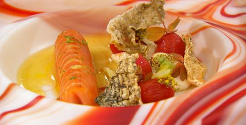 Stu's salmon ballotine with cherry tomatoes winning  starter on MasterChef The Professiona ...