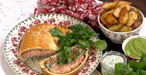 John Torode's Christmas salmon showstopper with mushy peas and potato wedges on This morning