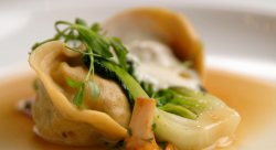 Yan's salt cod tortellini with lemon puree, pak choi and a cep consomme on Masterchef The  ...
